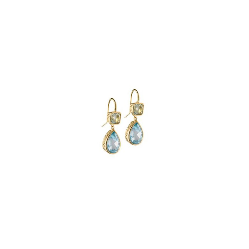 Studio Fine 18 Karat Crownwork Emerald and Pear-shaped Drop Earrings