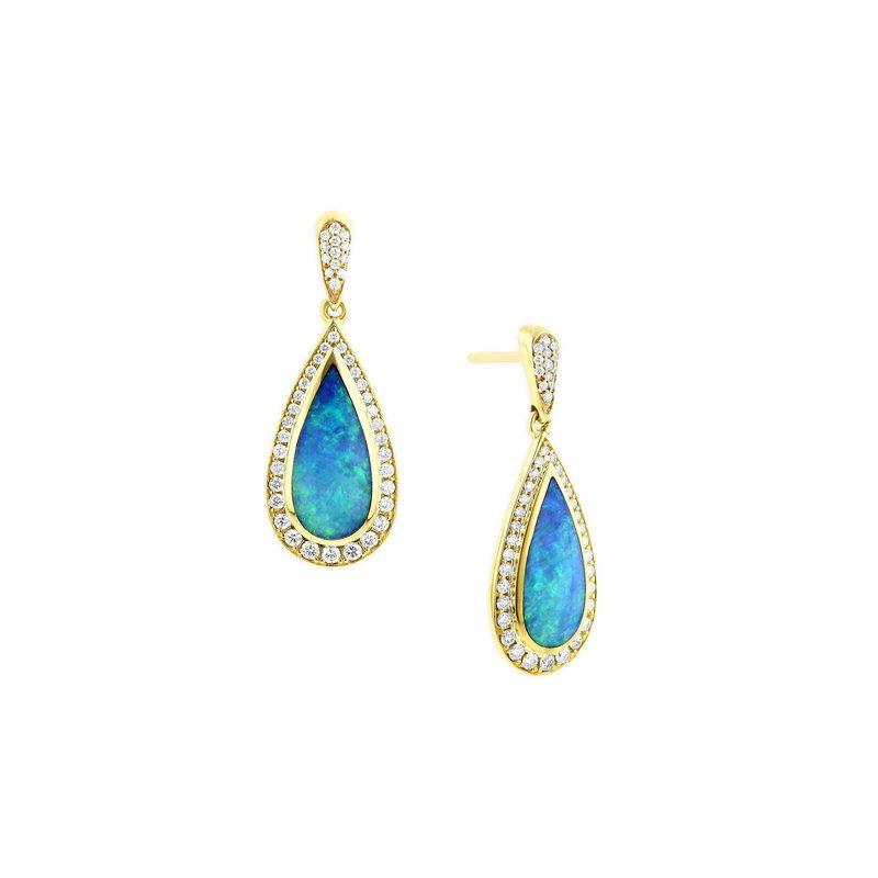 Studio Fine 14 Karat 4-Star Opal Earrings