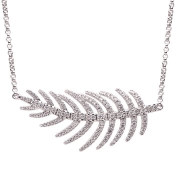 18 Karat White Gold Diamond Feather Necklace
