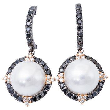 South Sea Pearl and Black and White Diamond Earrings