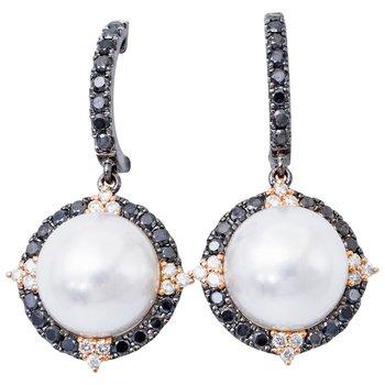 South Sea Pearl and Black and White Diamond Earrings