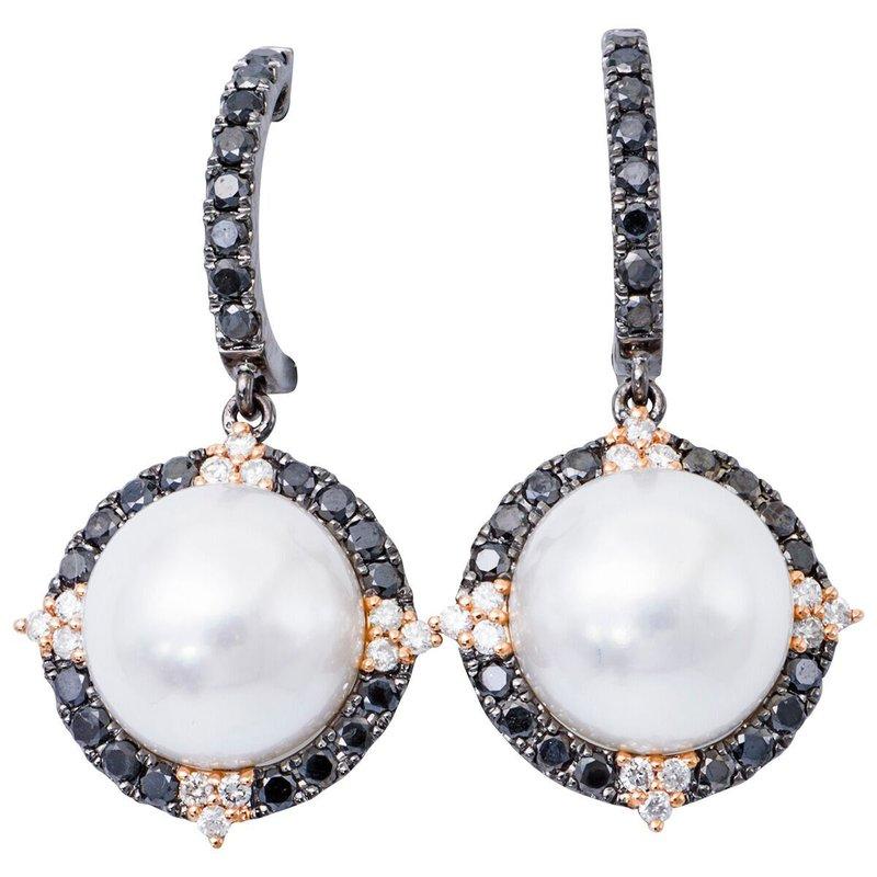 Studio Fine South Sea Pearl and Black and White Diamond Earrings