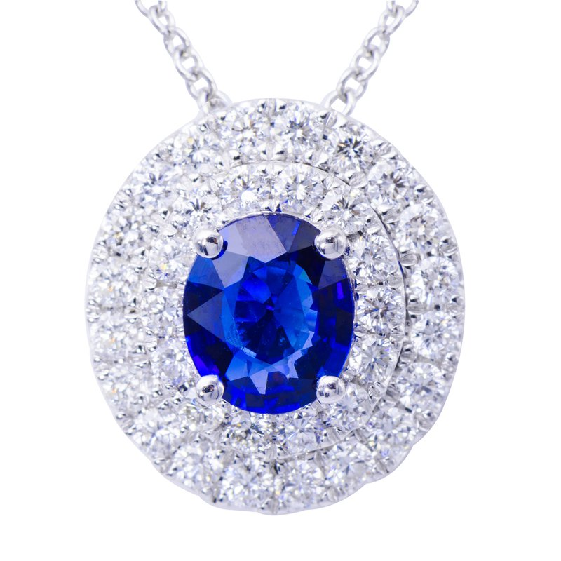 7 Mile Fine 18 Karat White Gold Sapphire and Diamond Pendant