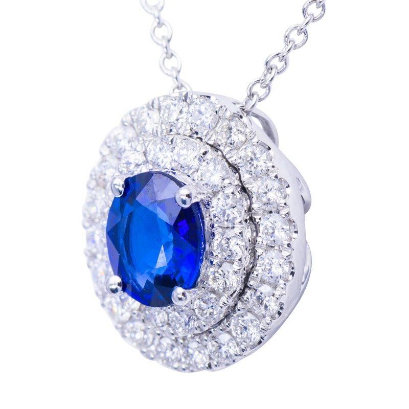 7 Mile Fine 18 Karat White Gold Sapphire and Diamond Pendant