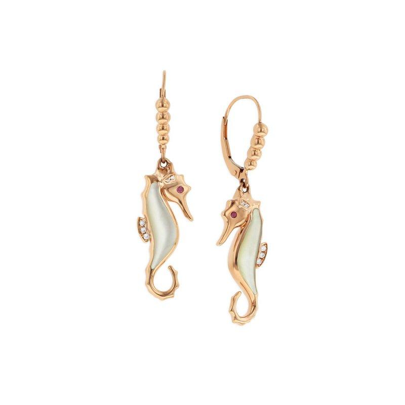 Studio Fine 14 Karat Mother of Pearl Seahorse Earrings