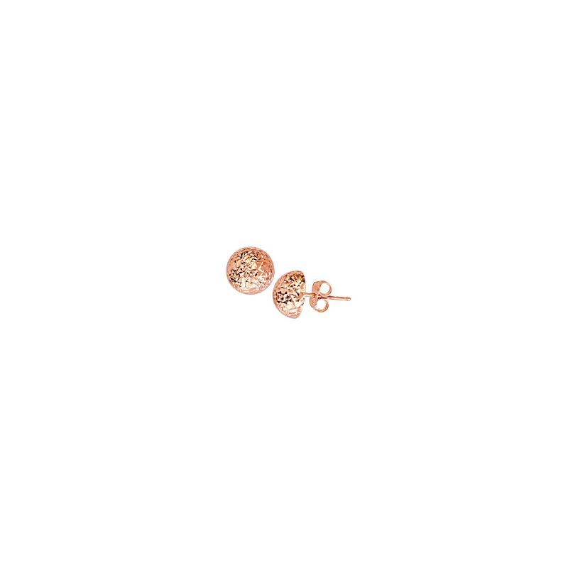 Studio Fine 14 Karat Diamond Cut Sparkle Dome Earrings