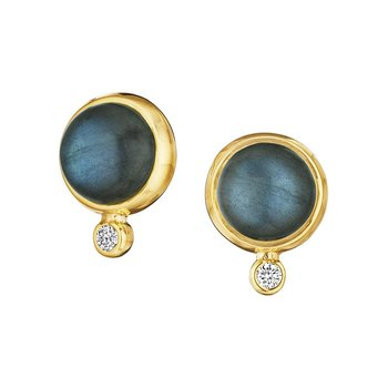 Labradorite & Diamond Ear Studs