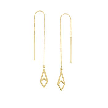 14 Karat Geometric Threader Earrings