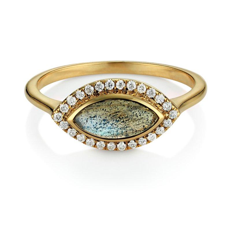 Studio Fine Labradorite & Diamond Halo Marquise Ring