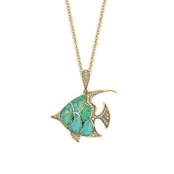 18 Karat Opal Angelfish Necklace
