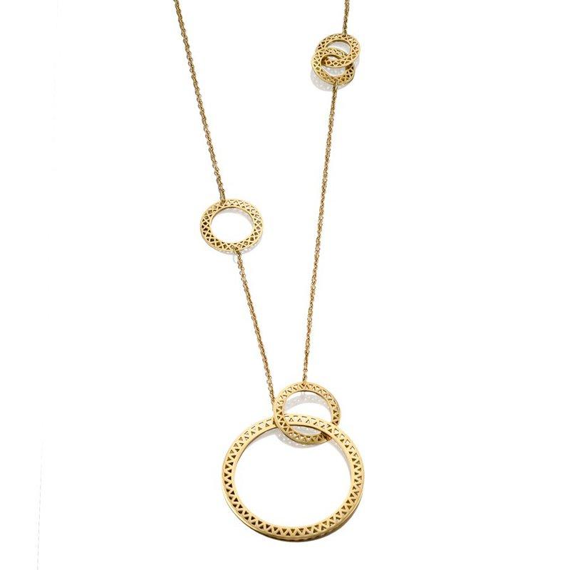 Studio Fine Asymmetric Crownwork Disc Necklace
