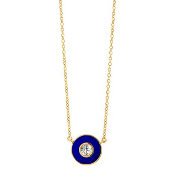 Blue Disc Diamond Necklace