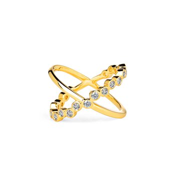 Bubbles Diamond Cross Ring