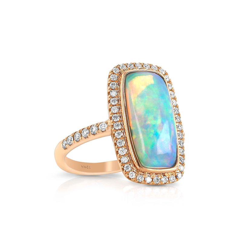 7 Mile Fine 18 Karat Rectangle Opal and Diamond Ring
