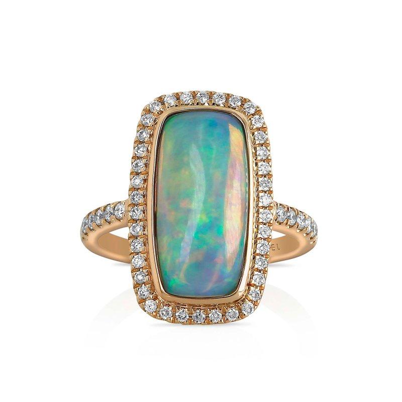 7 Mile Fine 18 Karat Rectangle Opal and Diamond Ring