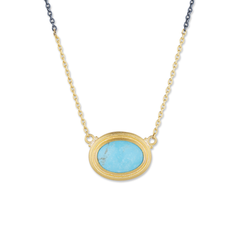 24k & Sterling Silver Turquoise Oval Necklace
