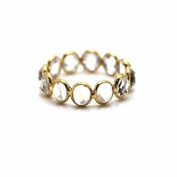 18 Karat Moon Drop Oval Adjustable Ring