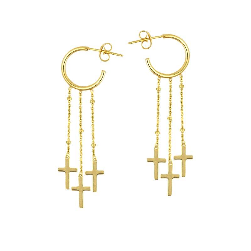 Studio Fine 14 Karat Cross Trip Semi-hoop Earrings