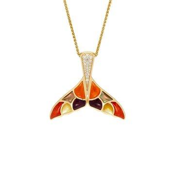 14 Karat Whale Tail Mosaic Necklace