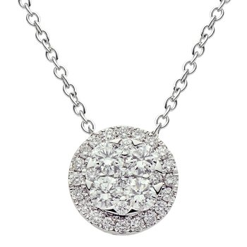 18 Karat White Gold Diamond Illusion Pendant