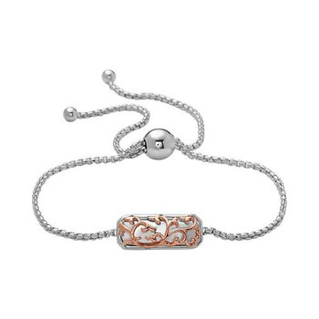 Rose Two-tone Ivy Lace Bolo Bracelet