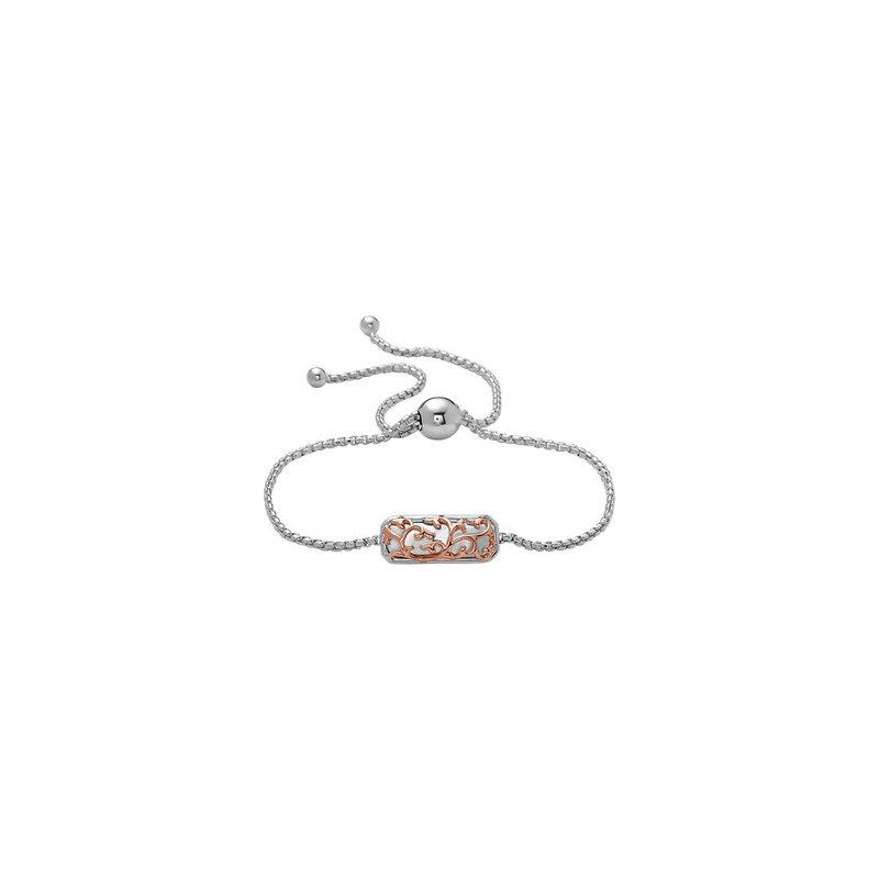 Studio Silver Rose Two-tone Ivy Lace Bolo Bracelet