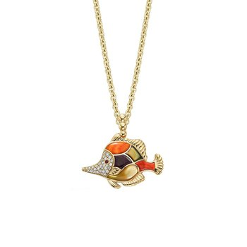 14 Karat Fish Mosaic Necklace
