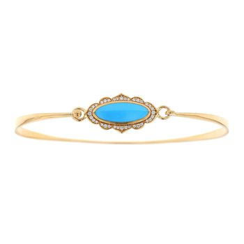 14 Karat Turquoise and Diamond Bangle