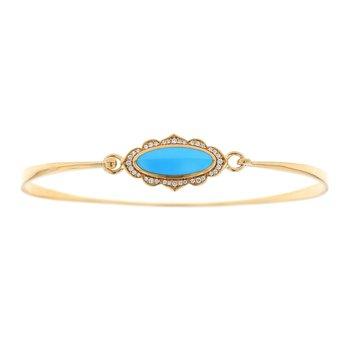 14 Karat Turquoise and Diamond Bangle