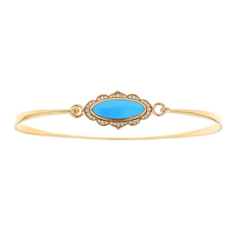 Studio Fine 14 Karat Turquoise and Diamond Bangle