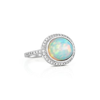 18 Karat Oval Opal and Diamond Ring