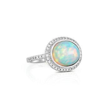 18 Karat Oval Opal and Diamond Ring