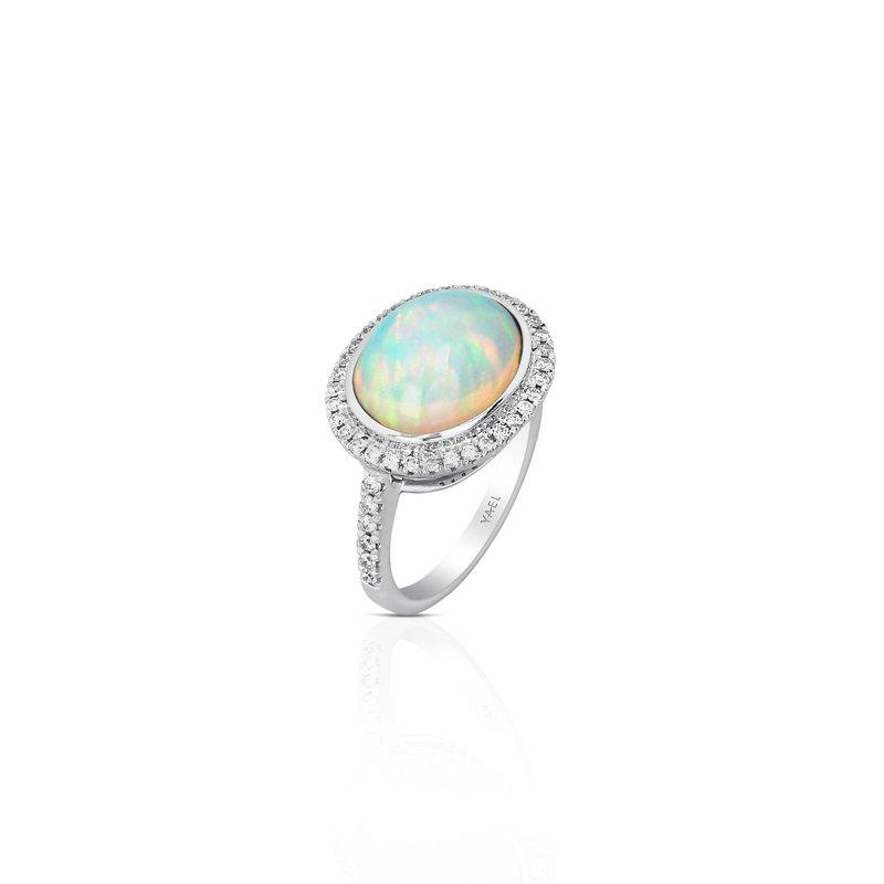 7 Mile Fine 18 Karat Oval Opal and Diamond Ring