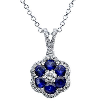 18 Karat White Gold Sapphire and Diamond Flower Pendant