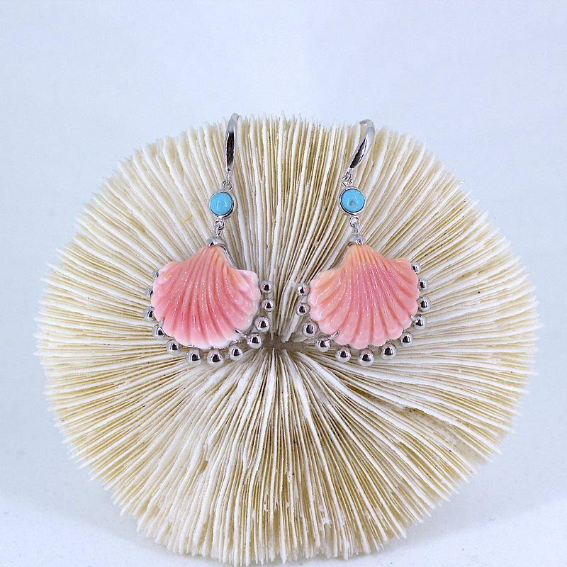 Arielle Conch and Turquoise Earrings
