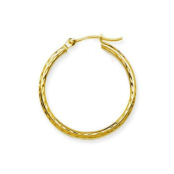 "14 Karat 1"" Diamond Cut Hoops"