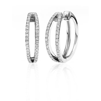 Split Two Row Diamond Hoop Earring
