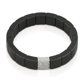 Domino Black Ceramic Bracelet with Diamonds