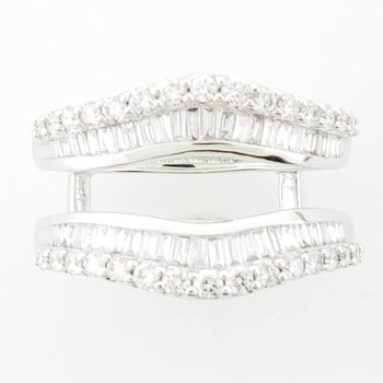 1.00 CT Diamond Ring Guard with round & baguette diamonds 14KW