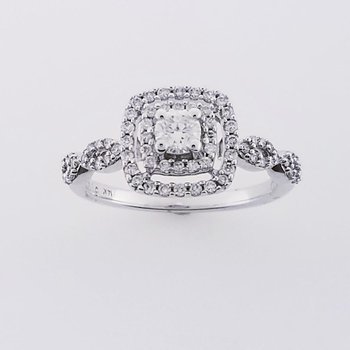 .48 ct double halo diamond ring SI/GH, 14 KW