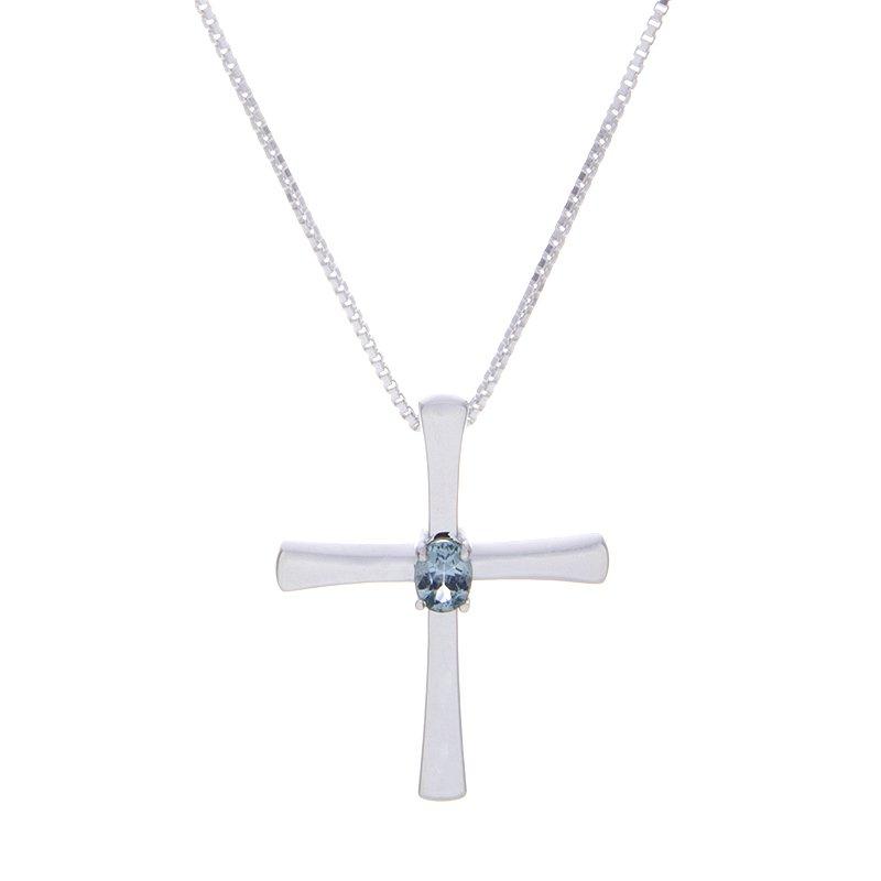 Montana Sapphire Cross Pendant - sterling