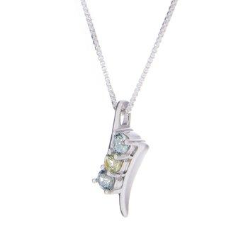 Montana Sapphire 3 stone Pendant - sterling
