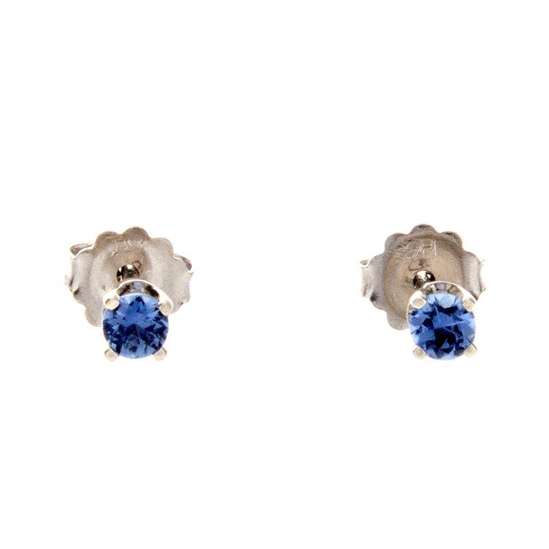 Yogo Sapphire Stud Earrings - 14kw