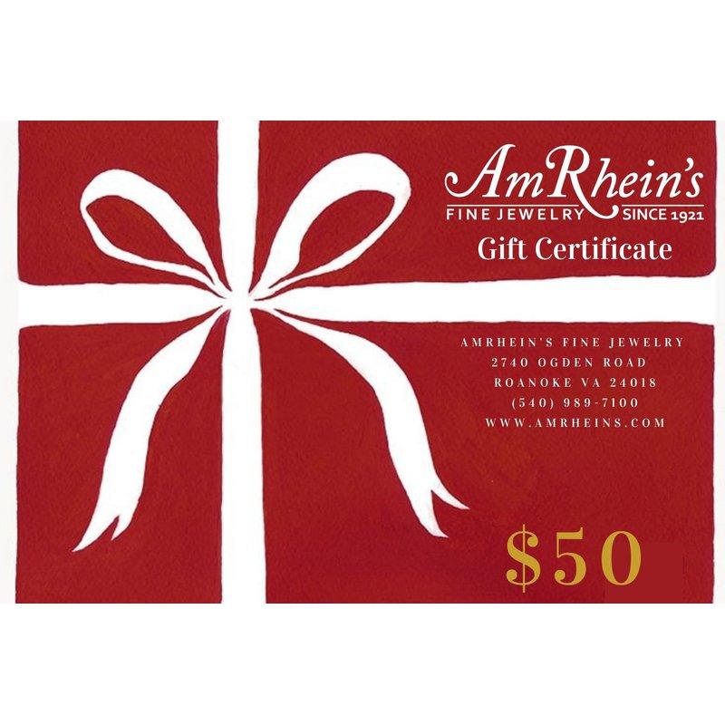 AmRheins Gift Certificates $50 AmRheins Gift Certificates