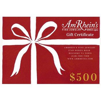$500 AmRheins Gift Certificate