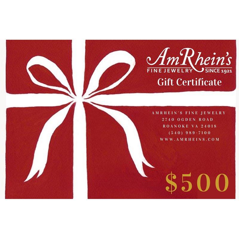 AmRheins Gift Certificates $500 AmRheins Gift Certificate