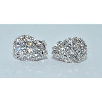 18K WG Diamond Cluster Pear Shape Earrin