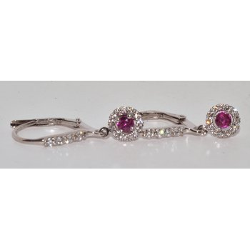 14K White Gold Ruby and Diamonds Halo