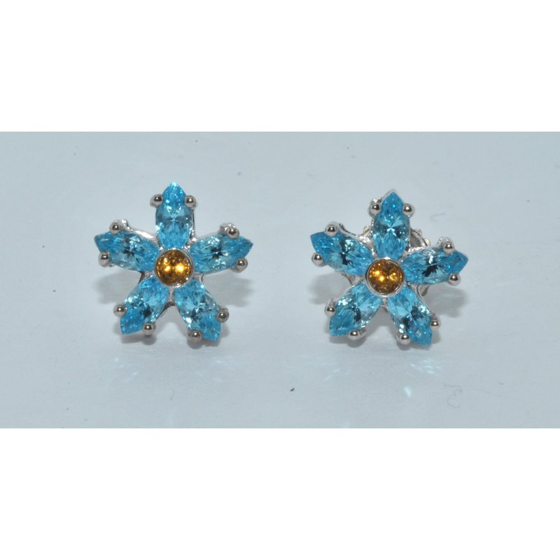 Windy City Signature 14K WG Blue Topaz & Citrine