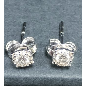 14K WG Diamond Cluster Earrings